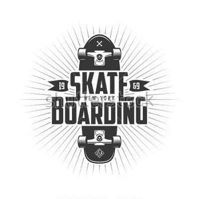 Adesivo Skateboarding t-shirt design. Urban skating. Skateboard typography. Vector vintage illustration.