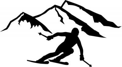 Adesivo Ski Run Montagne Sfondo