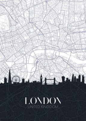 Adesivo Skyline and city map of London, detailed urban plan vector print poster