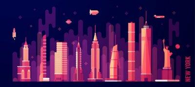 Adesivo skyline della città stile piatto vettore New York