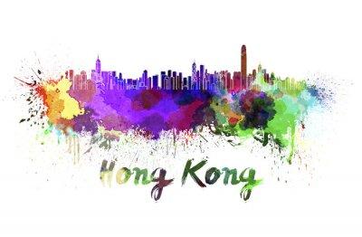 Adesivo Skyline di Hong Kong in acquerello