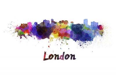 Adesivo Skyline di Londra in acquerello