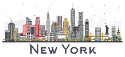 Adesivo Skyline di New York USA con grattacieli grigi isolati su sfondo bianco.
