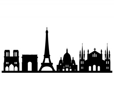 Adesivo skyline di Parigi su sfondo bianco
