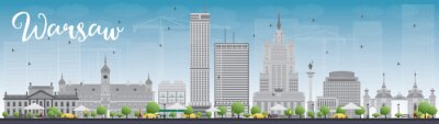 Adesivo skyline di Varsavia con edifici grigi e blu cielo. Alcuni elementi hanno modalità di trasparenza diverso dal normale