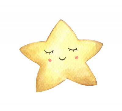 Adesivo Smile face in the shape of star. Isolated on white background. Hand drawn watercolor illustration.