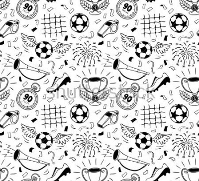 Adesivo Soccer vector background. Vector illustration of seamless football wallpaper pattern for your design
