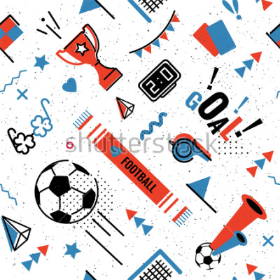 Adesivo Soccer/football abstract background in 80s memphis style. Seamless memphis pattern for posers and cards. Vector illustration