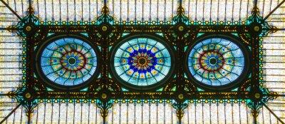 Adesivo Soffitto in vetro colorato in stile art nouveau floreale