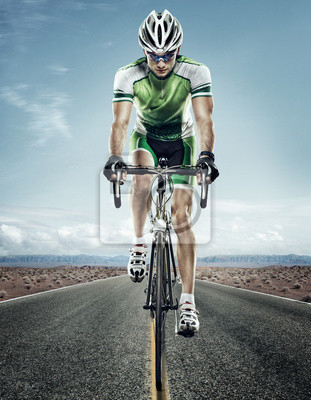 Adesivo Sport. Ciclista della strada.