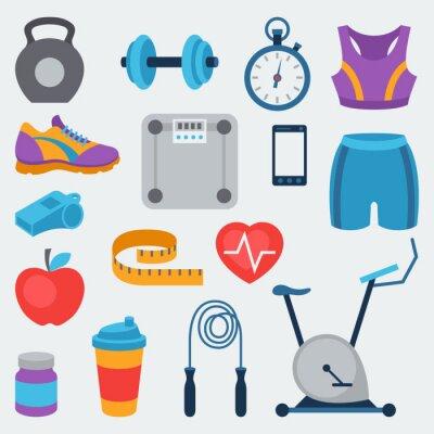 Adesivo Sport e icone di fitness set in stile piatto.