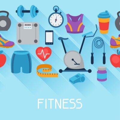 Adesivo Sport senza soluzione di modello con le icone di fitness in stile piatto.
