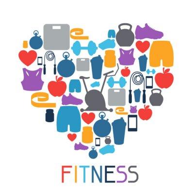 Adesivo Sport sfondo con le icone di fitness in stile piatto.