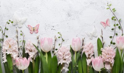 Adesivo Spring flower and butterfly