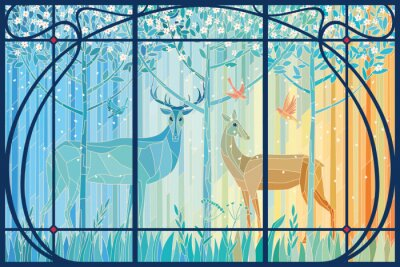 Adesivo Stained glass pair of deer in the spring forest in Art Nouveau frame. Vector graphics