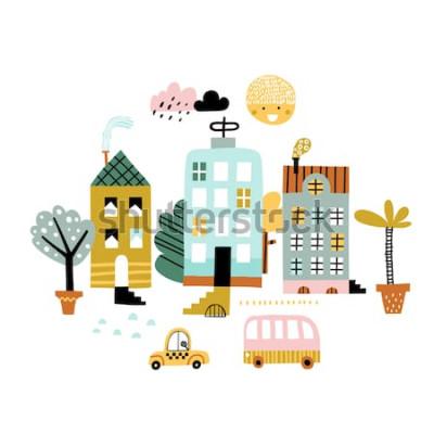 Adesivo Stampa di città dei cartoni animati. Illustrazione infantile di vettore con grattacielo, edifici e automobili. Design per poster, carte, borsa e t-shirt, copertina. Colori pastello. Stile scandinavo.