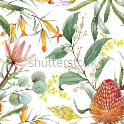 Adesivo Stampa floreale tropicale, fiori bangsia arancio, foglie di eucalipto, foglie di protea, mimosa in fiore, carta da parati tropicale
