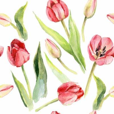 Adesivo stampa tessile dell'illustrazione del modello dell'acquerello del fiore dei tulipani