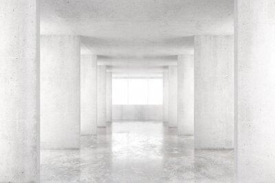 Adesivo Stanza vuota con pareti di cemento, pavimento in cemento e grande finestra, 3