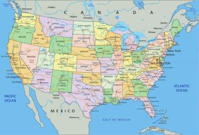 Adesivo Stati Uniti d'America - altamente dettagliata mappa politica modificabile con l'etichettatura.