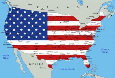 Adesivo Stati Uniti d'America altamente dettagliato mappa politica con la bandiera nazionale.