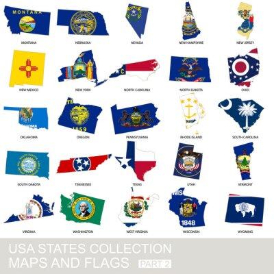 Adesivo Stati Uniti d'America Stato di raccolta, mappe e bandiere