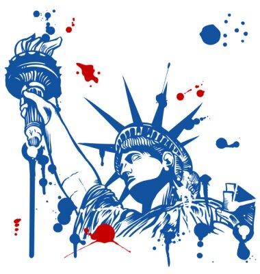 Adesivo statua della libertà con la torcia con la sgocciolatura di inchiostro