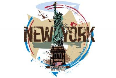 Adesivo Statua della libertà, New York / USA. Design della città Illustrazione disegnata a mano