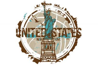 Adesivo Statua della libertà, New York / USA. Disegno della città. Illustrazione disegnata a mano