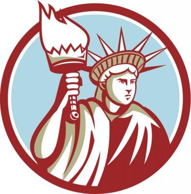Adesivo Statua della Libertà Tenere Fiaccola Circle Retro
