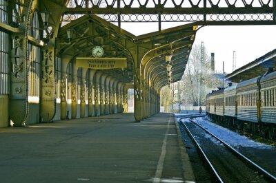 Adesivo Stazione ferroviaria, orologio, e cartello