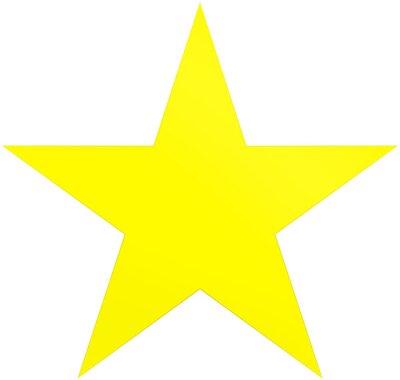 Adesivo Stella gialla di Natale - stella semplice di 5 punti - isolata su bianco