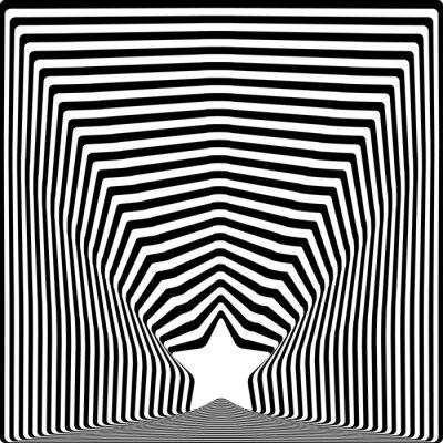 Adesivo Stella strisce nere illusione ottica effetto arte visiva.