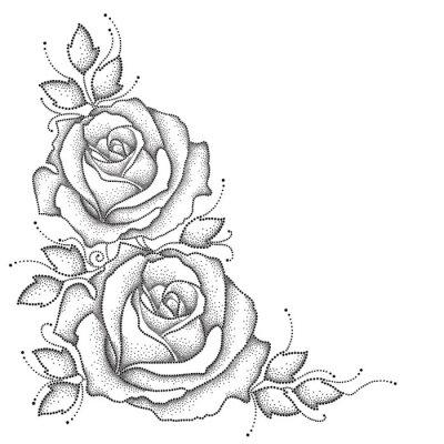 Adesivo Stem con fiori rosa punteggiato e lascia isolato su sfondo bianco. elementi floreali in stile dotwork.