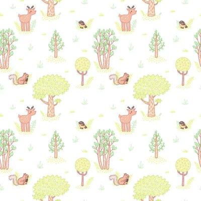 Adesivo stile Bambini disegno carino alberi scarabocchiare vector seamless.