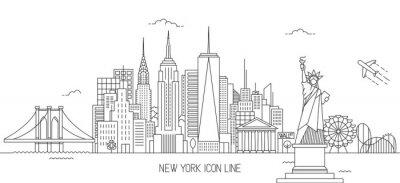 Adesivo Stile di linea skyline di New York