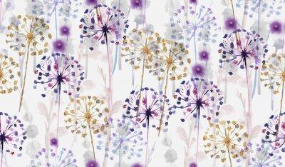 Adesivo Stile dipinto selvaggio del modello floreale selvaggio senza cuciture dell'acquerello, carta da parati delicata del fiore