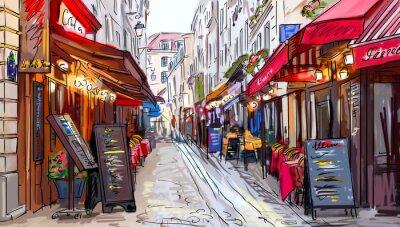 Adesivo Strada a Parigi - illustrazione