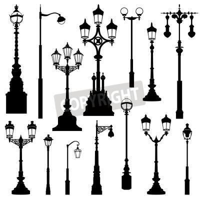 Adesivo Street lamp set. Street lights retro collection.