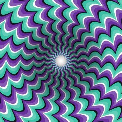 Adesivo strisce serpeggianti imbuto. buco rotante. Motley sfondo in movimento. illustrazione Illusione ottica.