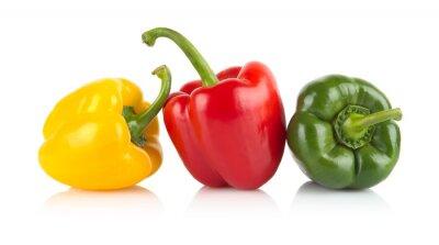 Adesivo Studio colpo di rosso, giallo, peperoni verdi isolato su bianco