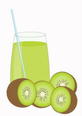Adesivo Succhi di frutta Kiiwi e Kiwi metà