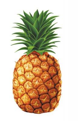 Adesivo succose gocce d'acqua dolce di ananas su sfondo bianco