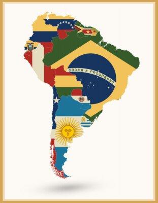Adesivo Sud America Mappa con bandiere e colori vintage