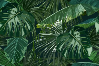 Adesivo Summer seamless pattern with tropical palm leaves. Jungle fashion print. Hawaiian background. Vector illustration