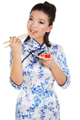 Adesivo Sushi donna holding sushi con le bacchette
