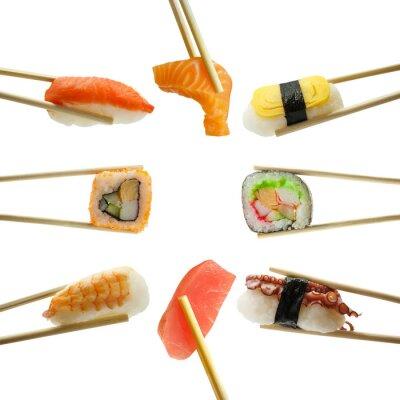 Adesivo sushi in bacchette isolato su sfondo bianco