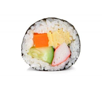 Adesivo sushi roll isolato su bianco.
