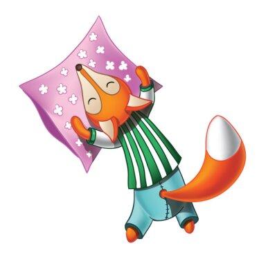 Adesivo Sveglia del fumetto volpe in pigiama dorme