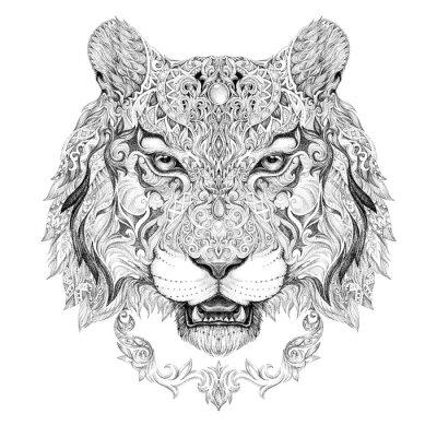 Adesivo Tatuaggio, capo grafico di una tigre